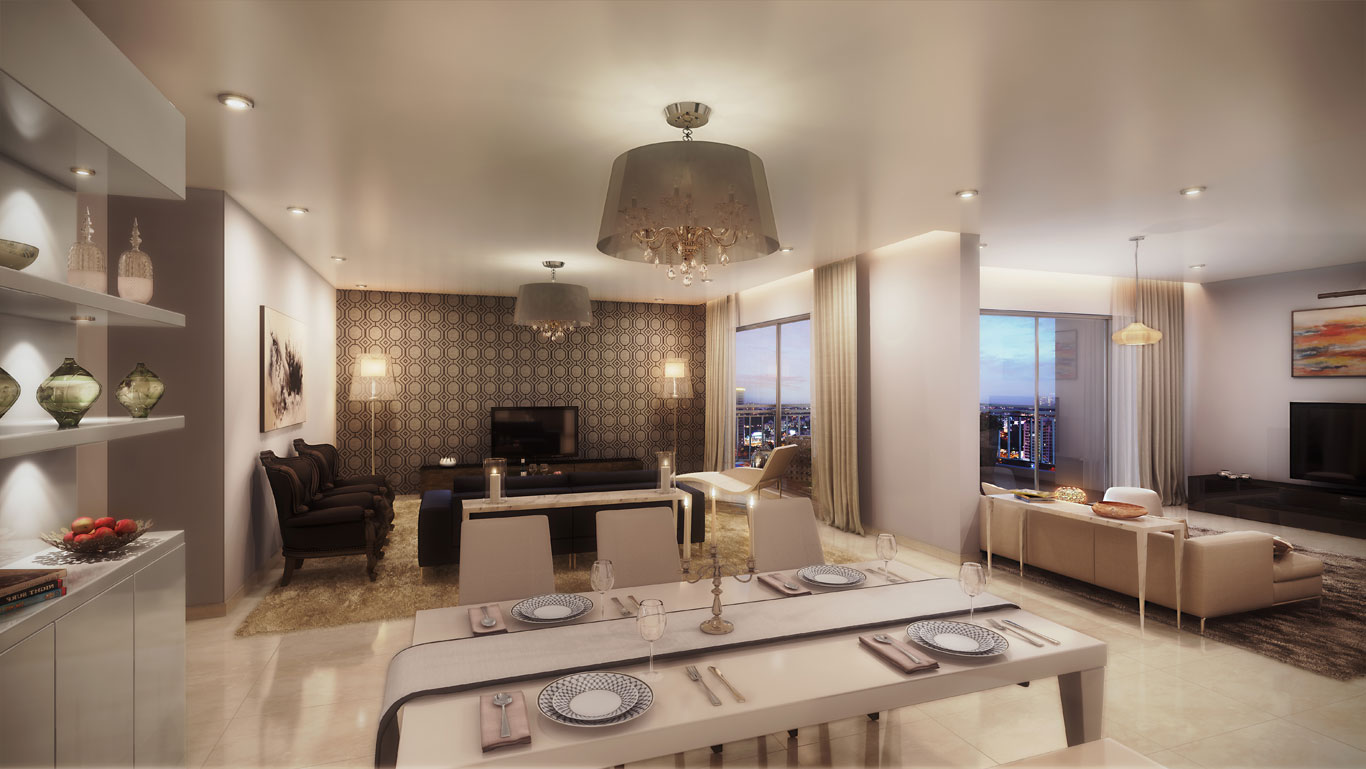 Brigade cosmopolis photo gallery actual photos of model apartment - Living room and dining room ...